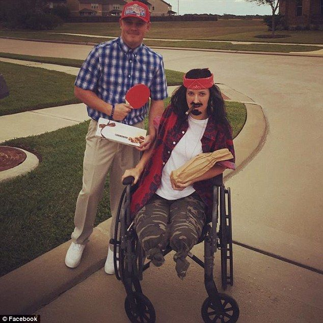 Boston Marathon bombing survivor Rebekah Gregory (right), 27,won Halloween by dressing as Lieutenant Dan Taylor from Forrest Gump.Her look came complete with a friend dressed as Forrest Gump (left)