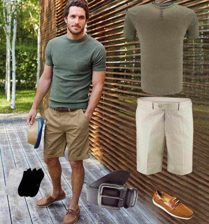 Trendy, zomers en simpel! Nette beige bruine korte broek met een legergroen t-shirt.