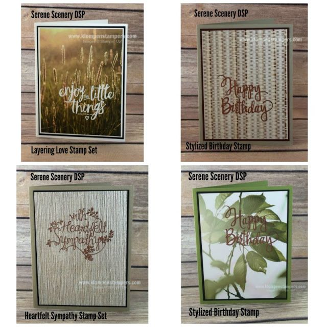 Simple cards made using Stampin' Up! SERENE SCENERY DSP. All the details are on the blog! Created by Jackie Bolhuis, Stampin' Up! Demonstrator. 100's of StampinUp card ideas on blog.