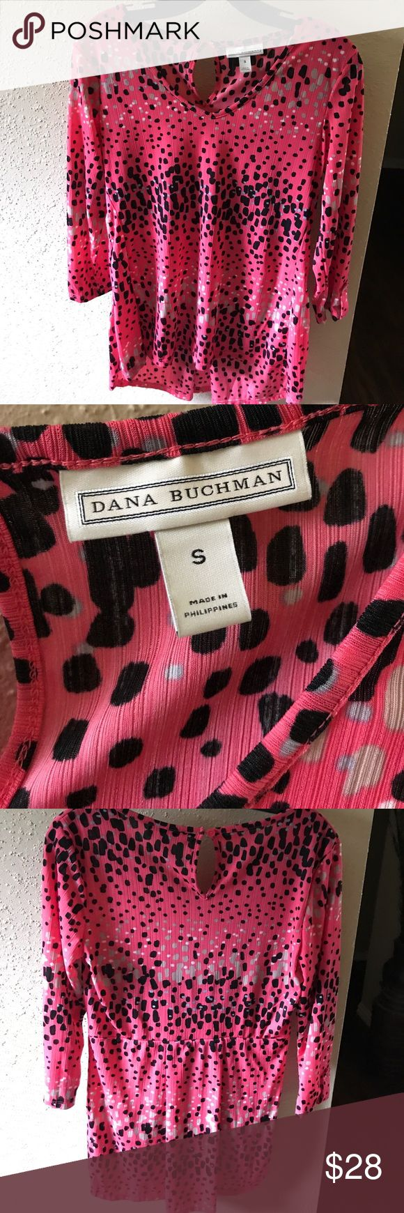 Womens Top Bright Coral polka dot top 3/4 sleeve flowy and cute with black skinny jeans or capri pants. Dana Buchman Tops Blouses
