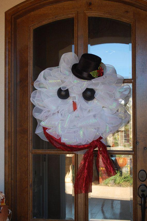 Frosty The Snowman Wreath (W: I'm thinking $1 store bath poufs)