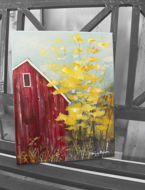 Autumn Door County Barn Original Art Painting Acrylic by NimbuRu, $52.00