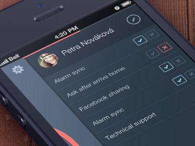 #ui Dark flat settings screen