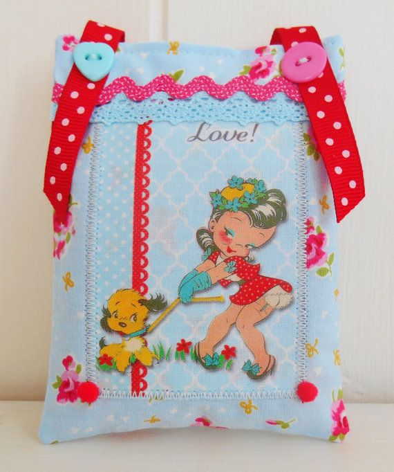 Retro Inspired Valentine's Lavender Sachet by picocrafts on Etsy