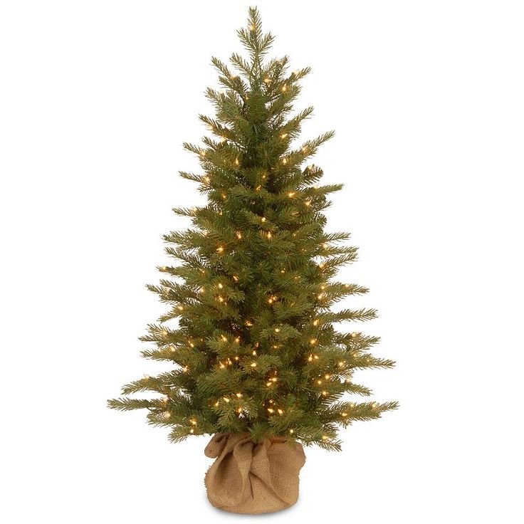 4-ft. Pre-Lit ''Feel-Real'' Nordic Spruce Artificial Christmas Tree in Burlap, Green
