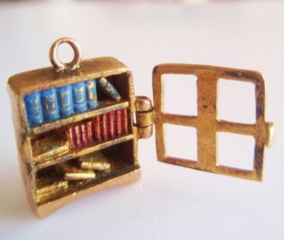 Rare 9ct Gold Nuvo Bookcase Opening Enamel by TrueVintageCharms