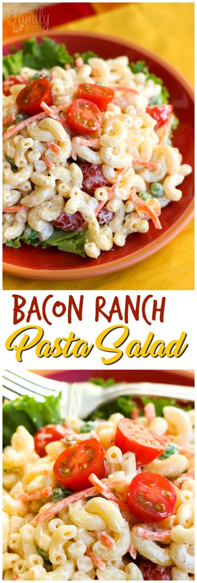 This Creamy Bacon Ranch Pasta Salad is the perfect salad for neighborhood BBQs or potlucks. You will love how easy it is and how good it tastes! via @favfamilyrecipz