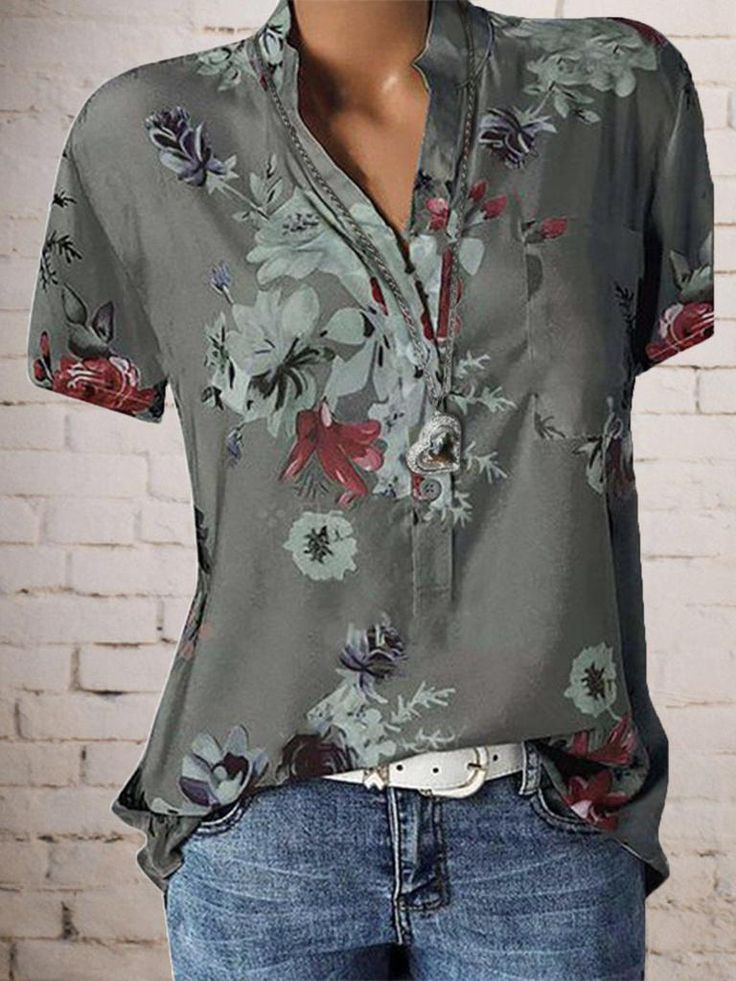 Floral Plus Size Short Sleeve Casual Stand Collar Blouse 13