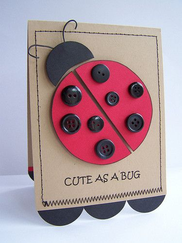 crafts buttonCute Cards, Cards Ideas, Buttons Crafts, Ladybugs Cards, Button Crafts, Crafts Buttons, Lady Bugs, Ladybugs Buttons, Buttons Cards