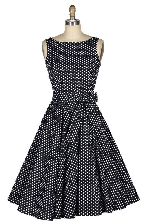 Wholesale Vintage Boat Neck Polka Dot Print Bow Sleeveless Dress For Women