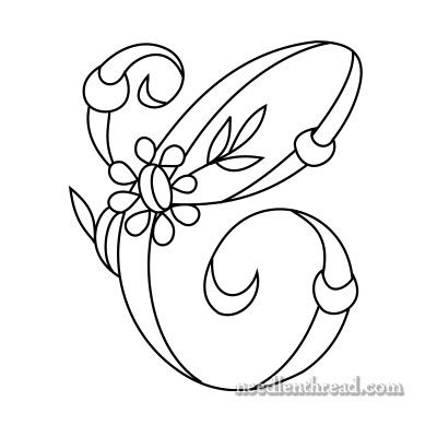 (^_^) Daisy and Rings Free Monogram for Hand Embroidery: C