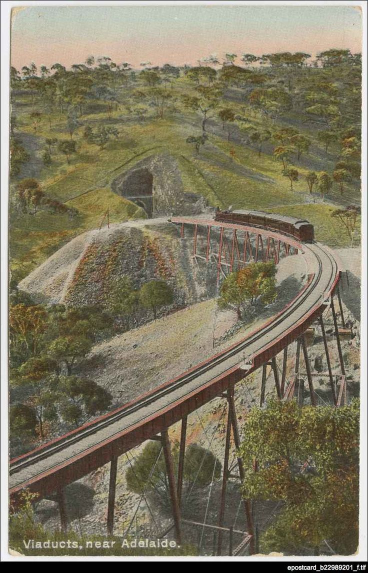 Viaducts, near Adelaide : [postcard], c1910. The viaducts for the railway lines in the Adelaide Hills crossed two steep gullies and were manufactured by an American company. These viaducts were criticised during their construction and even after they had been publicly tested on 18 August 1882, with a loaded train weighing nearly 200 tons.  The tunnels and viaducts served an important role on the main Adelaide to Melbourne railway line until 1919. They were dismantled the following year.