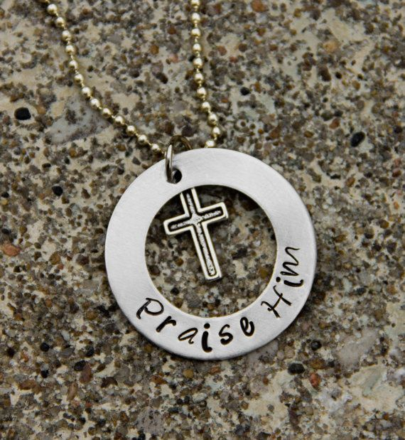 Metal Hand Stamped Washer Necklace with by funkyjeandesigns, $15.00