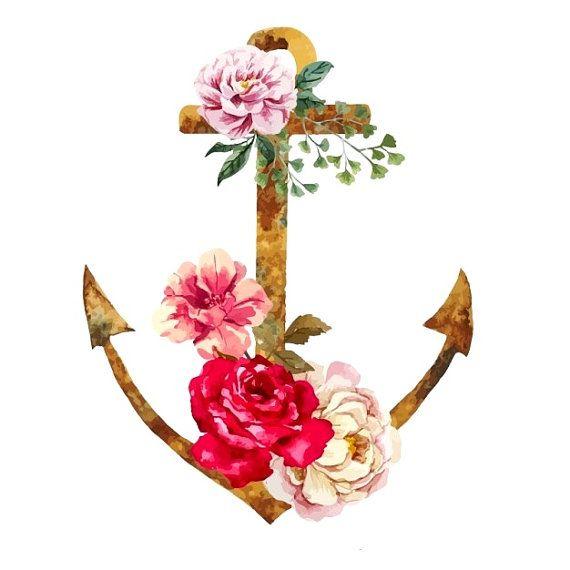 Aquarelle ancre et fleurs  tatouage temporaire par WildLifeDream