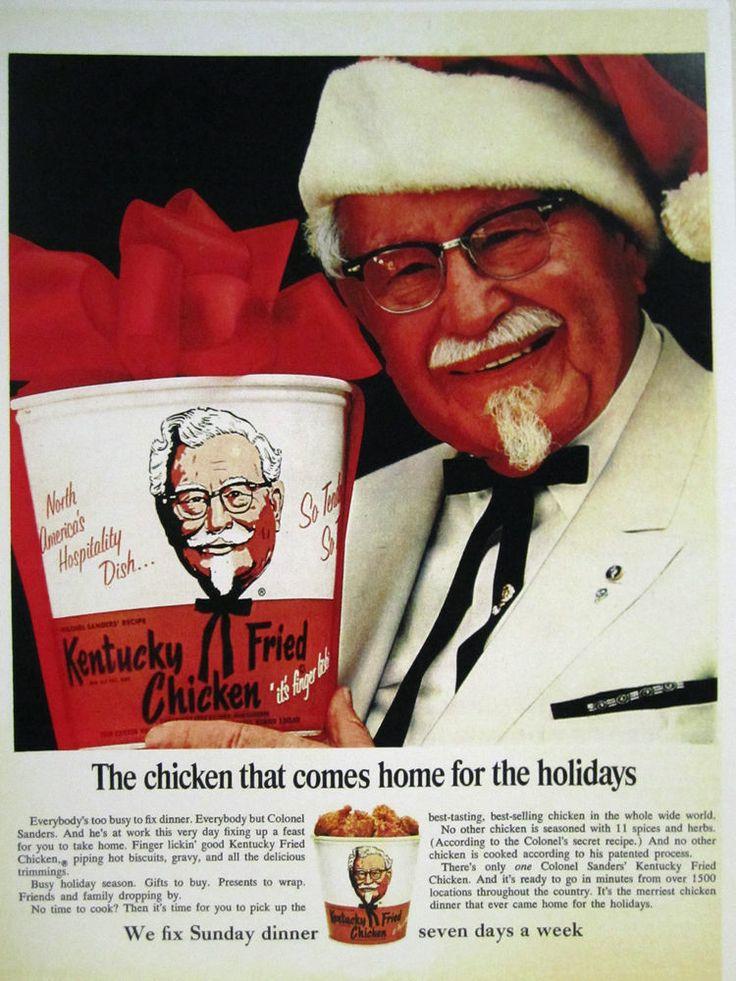 Vintage 1960's Advertising Store Sign Ad Christmas KFC COLONEL SANDERS AS SANTA