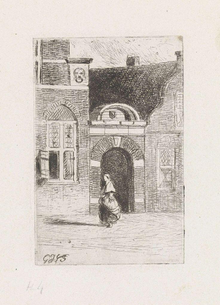Gijsbertus Johannes Verspuy | Bakstenen poort in een straat, Gijsbertus Johannes Verspuy, 1833 - 1862 | Gezicht op een bakstenen poort tussen huizen. Op straat loopt een vouwenfiguur.