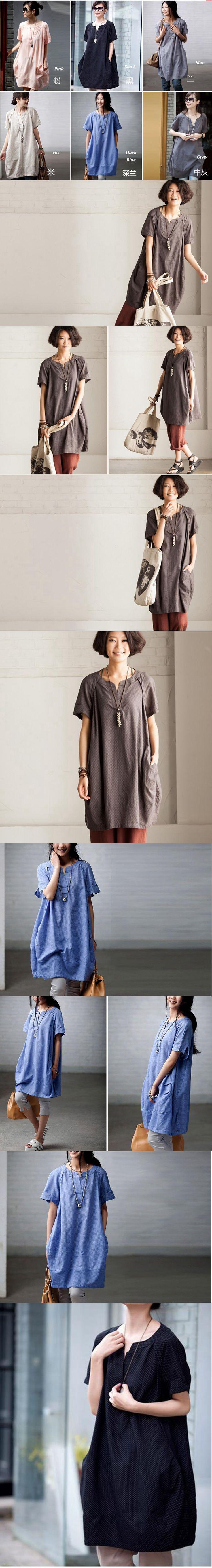 Black and Blue Gray loose cotton Shirt top Cotton dress by Fantasylinen