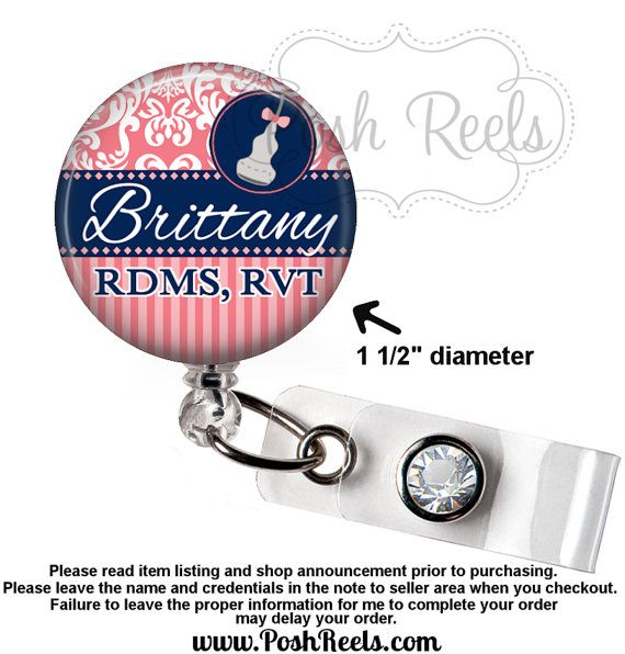 Ultrasound Tech Badge Holder - Coral and Navy Transducer Badge Reel - Sonographer - Stethoscope ID Tag, Carabiner or Lanyard - 1218