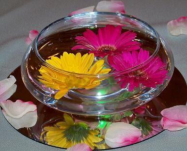 40 best centerpieces images on pinterest centerpiece ideas daisy flower arrangement centerpieces centerpiece with real gerbera daisys floating in water we do junglespirit Choice Image