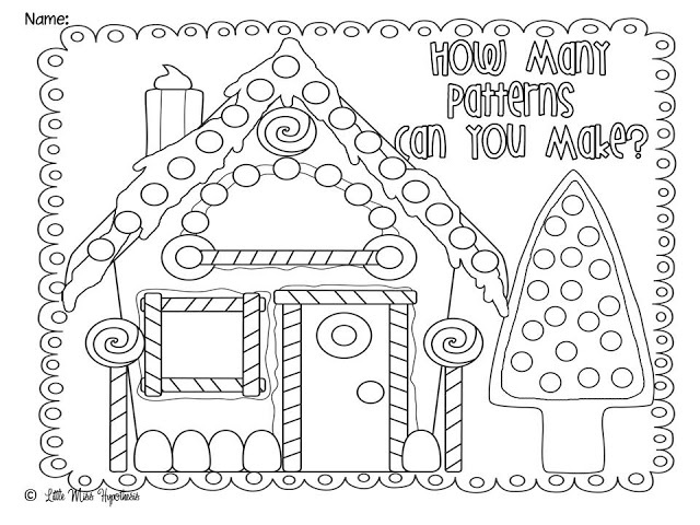 Gingerbread House Pattern Coloring Page