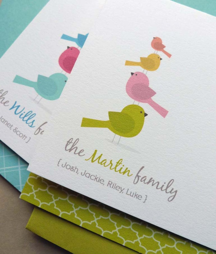 Personalized Bird Family Note Card Set, Family Stationery, Thank You Card