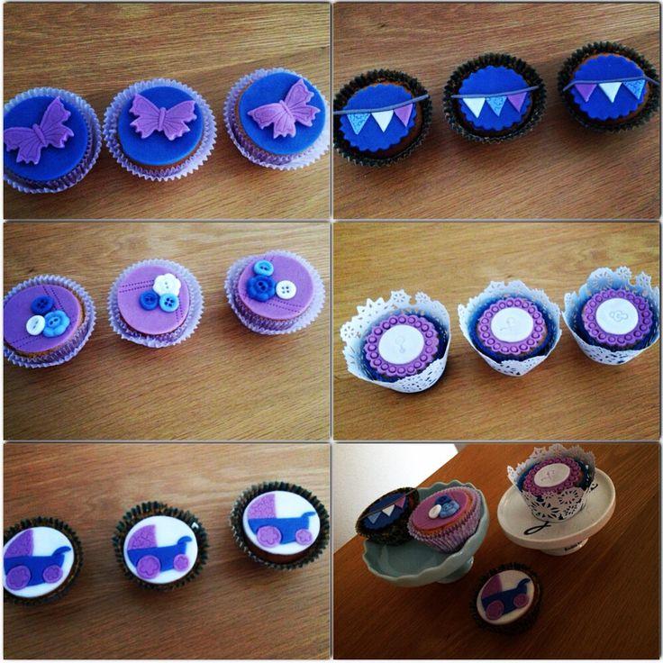 #cupcakes voor op 'n #babyshower #blue #lavendel #vintage #boy www.cakesenjoy.blogspot.com