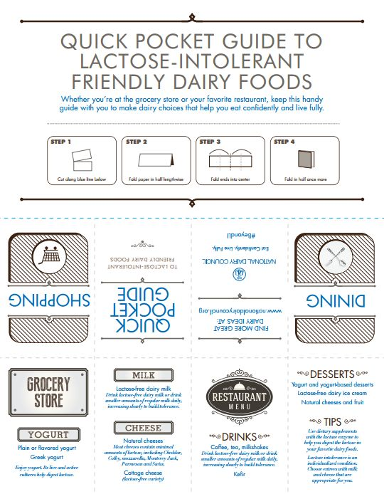 Navigating the grocery store for those with lactose intolerance is easier than ever! This printable and downloadable pocket guide is a useful tool for those with lactose intolerance to use while looking for lactose intolerance-friendly recipes at the grocery store and when dining out! Fold and keep in your purse or wallet for a quick reference wherever you go! #BeyondLI
