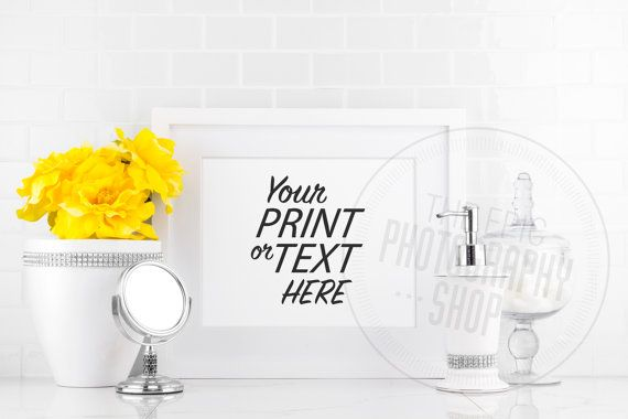 Styled Stock Photography / Yellow / Flowers / Washroom / Blank Frame / Empty Frame / Staged Photography / Product Background / WR008