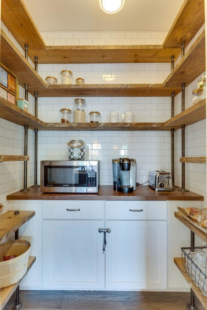 U shaped industrial shelves for kitchen supported by pipes and made of hardwood wood top countertop small sized microwave modern coffee maker flat panel cabinet in white of Dislike Mainstream Kitchen Shelving? These Tens Industrial Kitchen Shelving Ideas Might Be Your Favorite