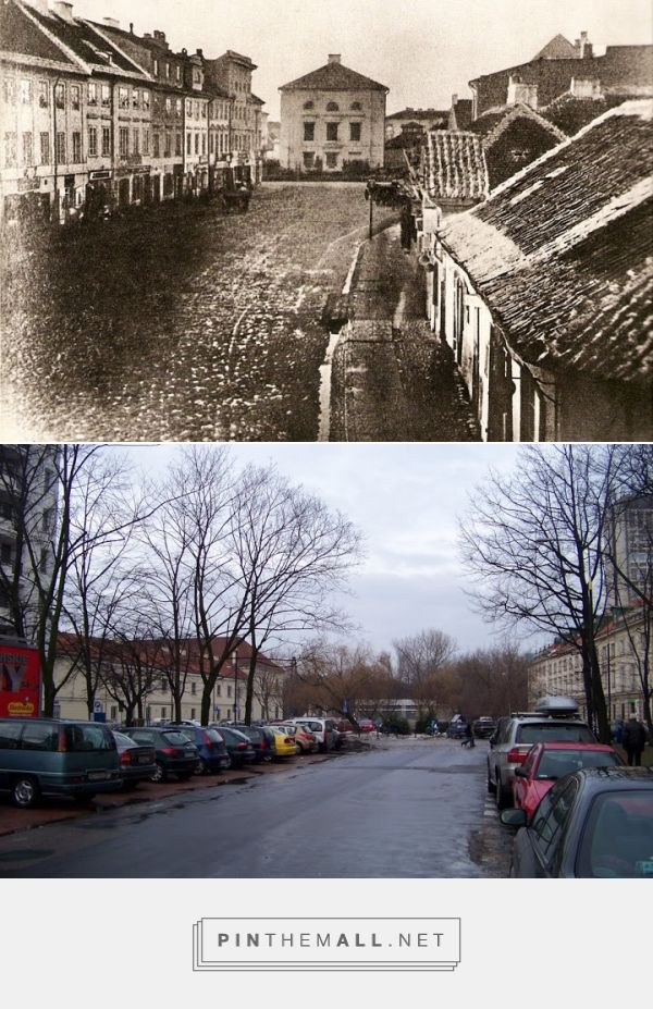 ulica Bielańska na odcinku do Długiej w 1870 r i 2011 r. - created via https://pinthemall.net