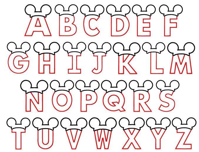 Letras con apliques de mickey mouse orejas por BowsAndClothesDesign