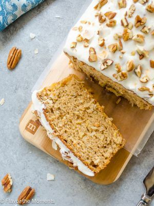 Healthier Hummingbird Bread with Vanilla Bean Cream Cheese Glaze {and a giveaway!} - Flavor the Moments
