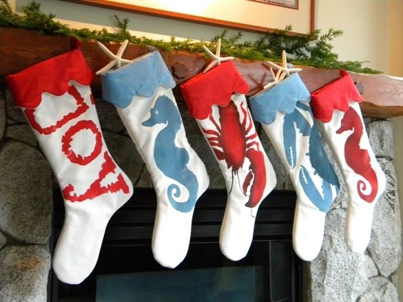 Seaside christmasBeach Christmas, Beach House, Seaside Christmas, Beach Style, Coastal Theme, Beach Stockings, At The Beach, Christmas Stockings, Christmas Decor