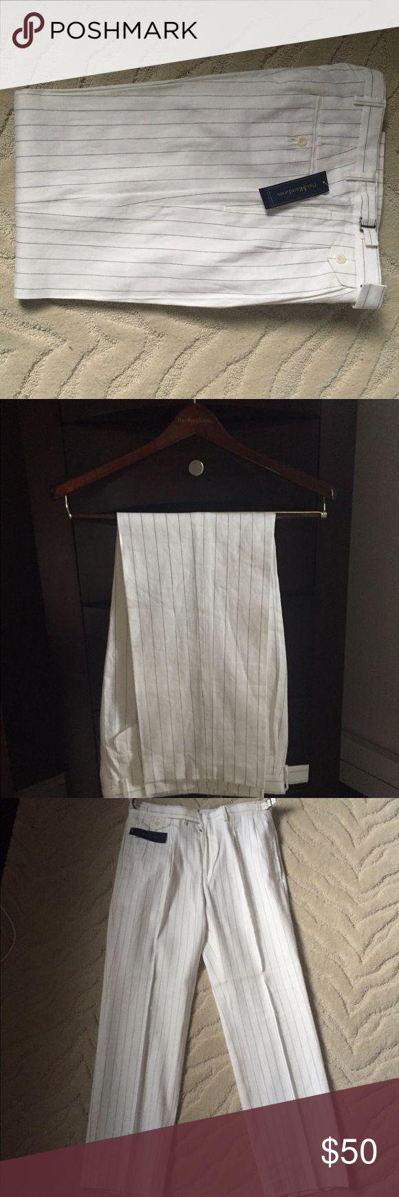 Polo Ralph Lauren Pinstriped Linnen/Cotton pants Polo Ralph Lauren pinstripe linen/cotton pants. New with tags. Size:32-30 Polo by Ralph Lauren Pants Chinos & Khakis