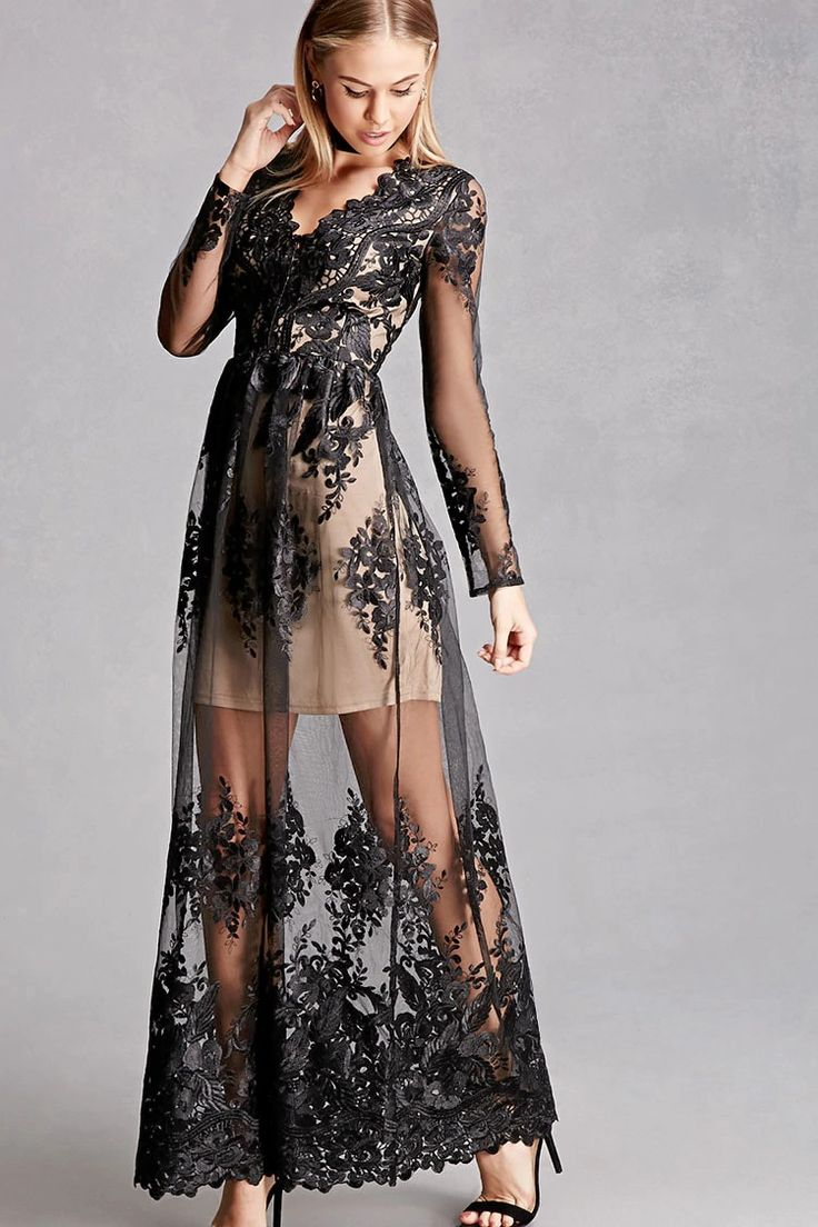 A maxi dress featuring an embroidered lace mesh overlay with scalloped trim, a V-neckline, long semi-sheer sleeves, and a contrast mini dress underlayer. This is an independent brand and not a Forever 21 branded item.
