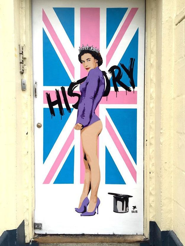 London-based street artist Pegasus has paid tribute to the Queen's 63-year reign with a partially nude painting.