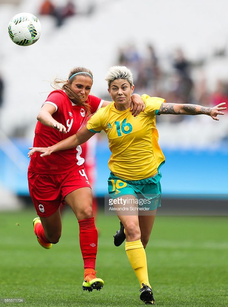 Shelina Zadorski (L) of Canada and Michelle Heiman of Australia in action during the match between Canada and Australia womens football for…