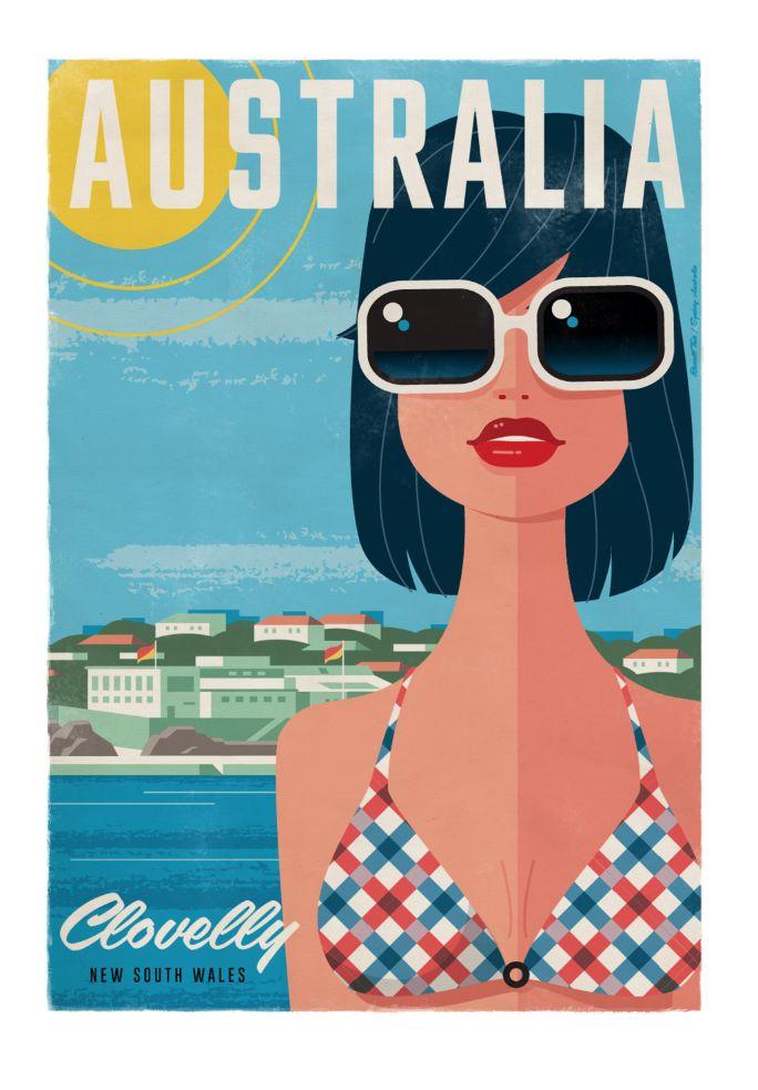 ClovellyBeach Travel poster 70 x 100cm available from: info@russelltate.com #russelltate