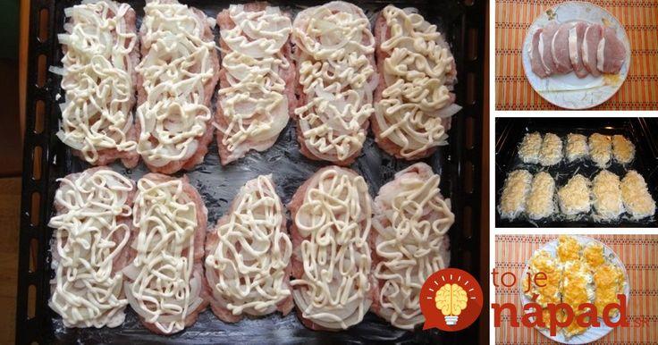 Výborný obed alebo večera z jedného plechu. Vyskúšajte šťavnaté bravčové plátky v chutnom kabátiku z majonézy, cibuľky a syra.