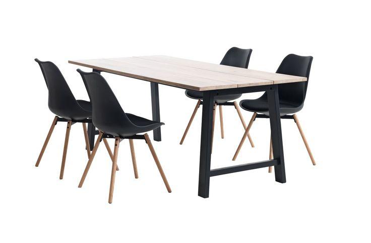 Tafel GADESKOV +4 stoelen zw/eik KASTRUP   JYSK