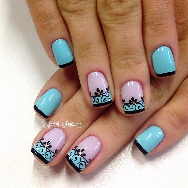 Floral and French tipped nail art design, this design combines light blue to periwinkle polish with black polish for the details and tips.