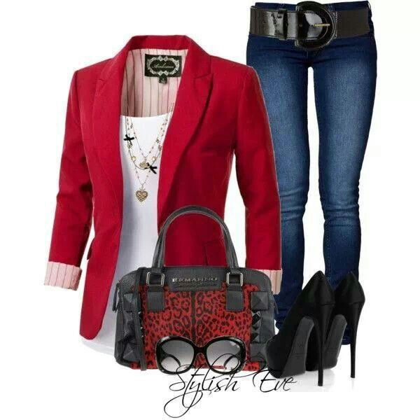 white shirt, red jacket, jeans, black hels, black and red purse and sunglesses