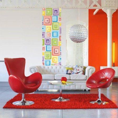 Sala inspirada no movimento Pop Art da decada de 50.