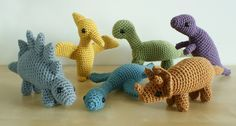 crocheted dinosaurs sets 1 and 2 by planetjune, via Flickr