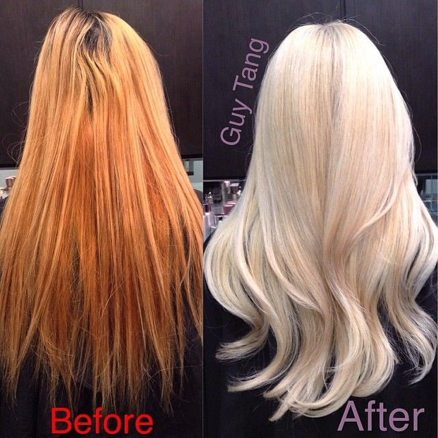 From ratchet brassy orange to pearl blonde transformation