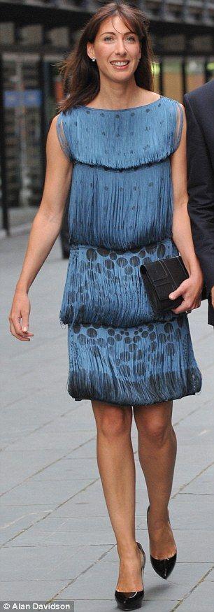 Samantha Cameron in vintage-inspired fringed Alberta Ferretti dress