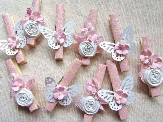 Pink butterflies and flowers washi clothes pins