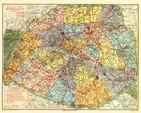 Vintage Map of Paris PRINT 8 x 10 City Map Decor - Plan de Paris, France - No.P223