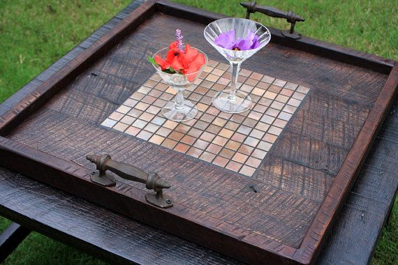 Large Ottoman Tray, Copper Mosaic Tile Centerpiece, Reclaimed Wood, Dark Brown Finish, 24 x 24, Handmade