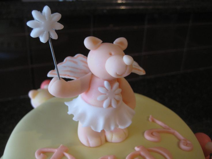 Teddy Bear Fairy Topper for Baby Shower Cake - Cocoabai Cakes